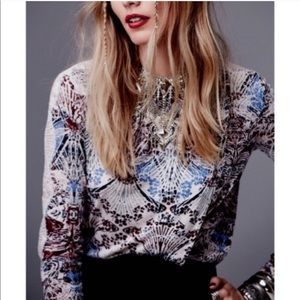 NWT Free People Printed Lace Long Sleeve Blouse